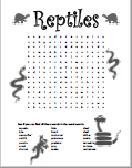 Reptiles Word Search