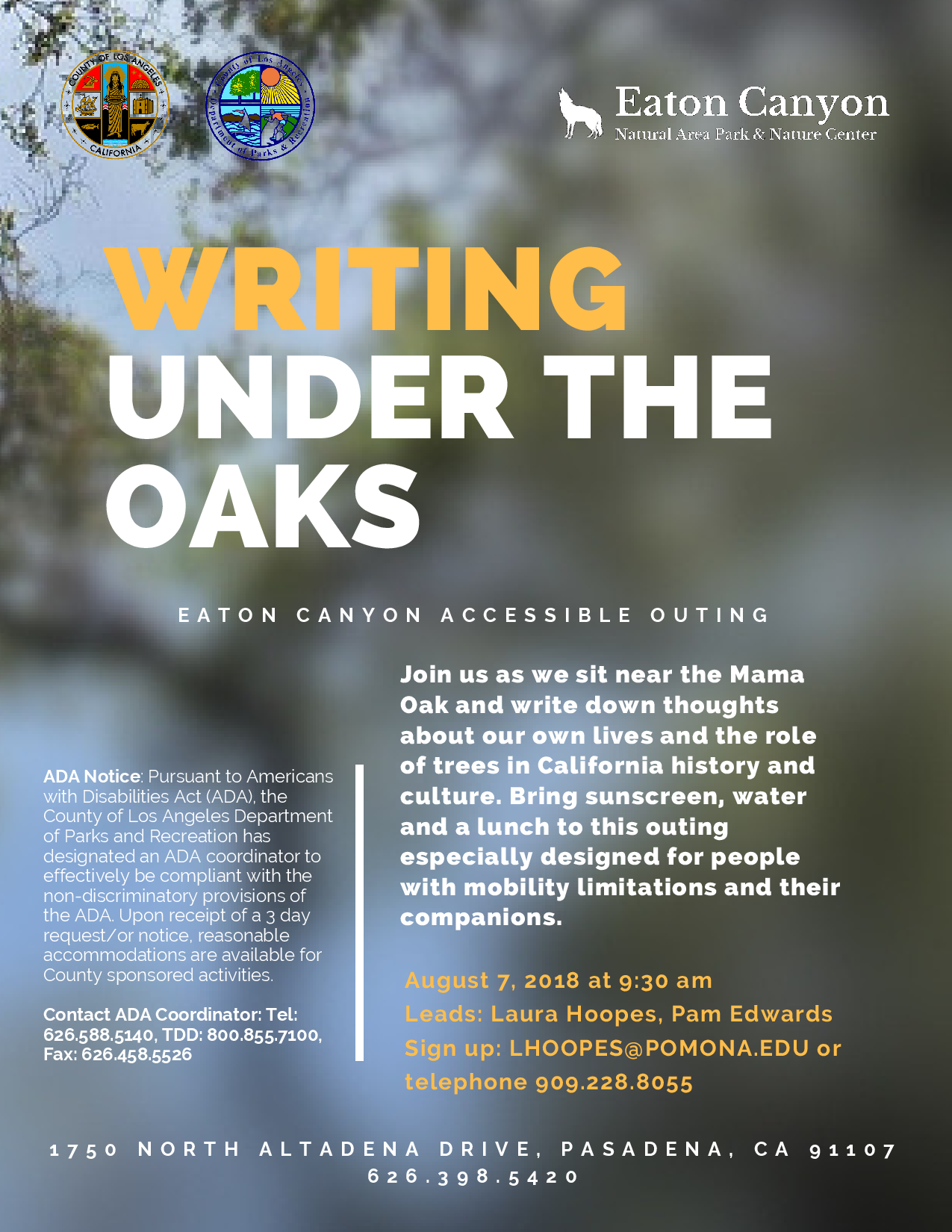 Writing Under the Oaks